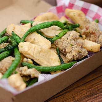 Crispy soy cheese Chicken with firm beancurd, fish tempura and green beans