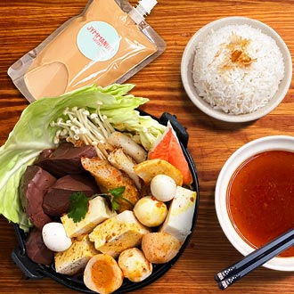 Taiwanese spicy 'Mala' mini hotpot with rice  and homemade milk tea